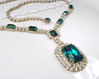 Art Deco Emerald & Clear Rhinestone Bridal Necklace, 1920s Silver Green Crystal Statement Necklace, Vintage Wedding Gatsby Flapper Jewelry
