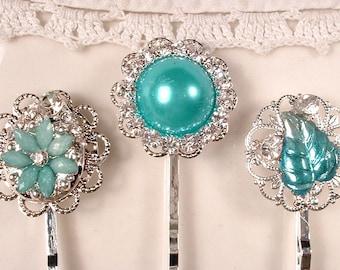 Turquoise Rhinestone Silver Bridal Hair Pins, Aqua Blue Jeweled Bobby Pins, Bridesmaids Gift, Vintage Wedding Hairpin Set 3 Teal Hairpiece