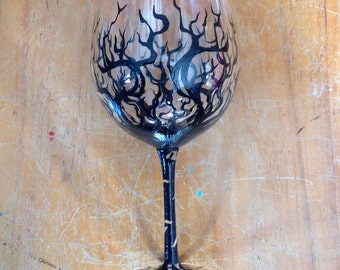 Painted wine glass wicked tree