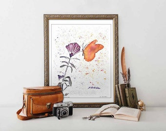 Watercolor Animal Prints Minimalist Print Butterfly Wall Art Fine Art Dorm Decor Housewarming gift for Her Limited Edition Prints