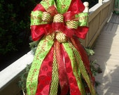 Red and Lime Christmas Bow, Christmas Wreath Bow, Christmas Tree Bow, Garland Bows, Bow Topper, Red Dots