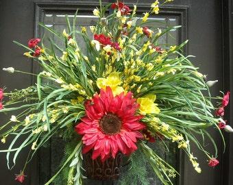 Summer Door Wreath, Wall Floral Arrangement, Grassy Summer Wreath, Sunflower Pocket, Red And Yellow Everlasting Sunshine