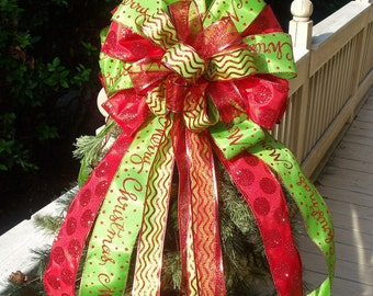 Christmas Tree Topper Bow,  Red and Lime Christmas Bow Topper, Double Bows, Bow Toppers
