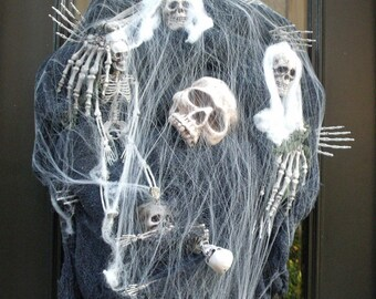 Skull Halloween Wreath, Skeleton Wreath, Skull Halloween Decor, Halloween Wreath Decor, Scary Halloween Prop