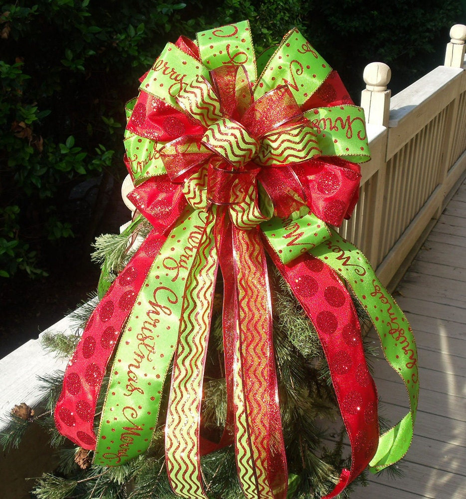 double christmas bow toppers red and lime christmas tree. Black Bedroom Furniture Sets. Home Design Ideas