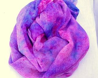 Hand dyed Silk Fabric, Silk Chiffon, Ready to Ship, Hand dyed Silk Chiffon Fabric, 82 x 44 inches, SallyAnnesSilks C20