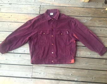 90s Cross Colours Denim Jacket Burgundy XL XXL