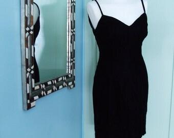 Vintage 80's Black Velvet tank dress. M/L