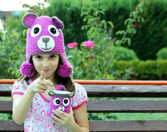 Set of Purple Teddy Bear Hat and Cup Cozy, Warm Bear Outfit Hat, Crochet Bear Hat, Crochet Bear Cup Cozy, Crochet Purple Warmers