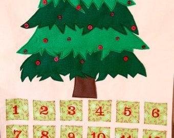 Christmas Tree Advent Calendar Countdown - Candy Cane Pockets