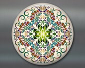 mandala fridge magnet, colourful art magnet, blue and green kitchen decor, spiritual decor, large magnet, housewarming gift MA-MAND-20