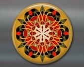 mandala art refrigerator magnet, kaleidoscope art magnet, red and black kitchen decor, large magnet, MA-MAND-31