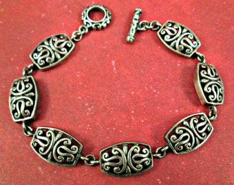 Vintage HAN Sterling Silver Bracelet Chain Link Openwork Filigree Lacy Scroll Seven Links Toggle Clasp Very Well Made Fine Silver Bracelet