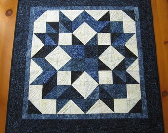 Quilted Table Topper or Wall Quilt, Star Wall Hanging, Star Table Topper, Blue Table Topper, Batik Table Topper