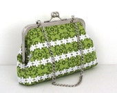 SALE Kelly Green and White Daisy Applique Cosmetic ,Clutch, Essential Bag, Wallet, and Keys and Phone Bag FREE SHIPPING