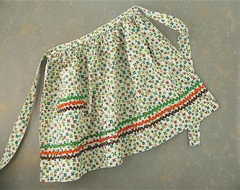 Vintage Cotton Print Apron, half, retro, geometric, orange, brown, green, turquoise