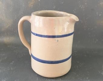 Crockery Pitcher, blue stripe, country, pottery