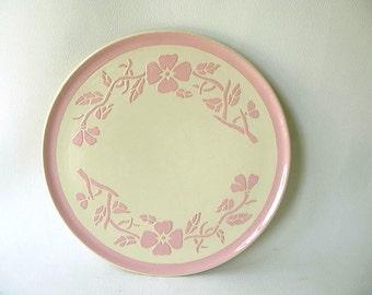 Vintage Pink Embossed Platter, Encrusto, round, cake plate