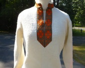 Off White Slavic Style Vintage Sweater With Orange And Brown Heart Design