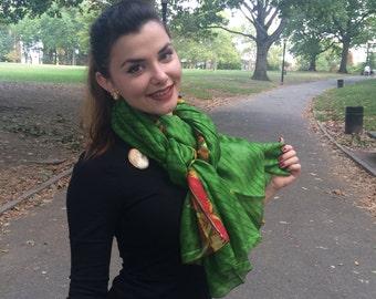 Beautiful Green Abstract Print Scarf,  Recycled Sari Pure Silk Scarf (40x80)