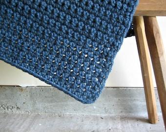 Blue Chunky Crochet Lap Blanket
