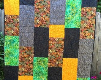 "Quilt -Fall Colors ""Serendipity""  53"" X 72"""