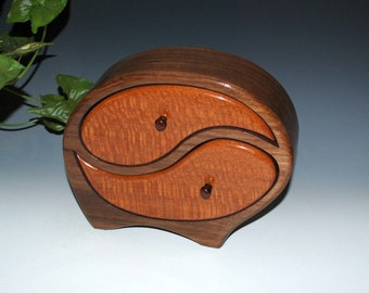 Handmade Wooden Yin Yang Jewelry Box in Walnut with Leopardwood Accents-Art Jewelry Box,Wedding Gift,Handmade Jewelry Box,Wooden Jewelry Box
