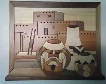 Pueblo Pottery Intarsia Southwest Indian
