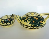 Vintage Italian Teapot & Sugar Bowl Hand Painted Made in Naples / Napoli