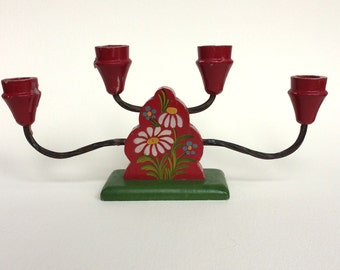 Vintage Swedish Candelabra Red with Tole Painted Flowers
