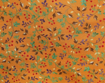 Autumn Floral Fabric, Autumn Fabric, 1 Yard 10 Inches, Orange Floral Fabric, Vines and Leaves, Autumn Material, Cotton, Green blue Red