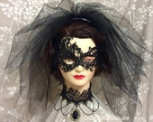 Halloween Gothic Bride Veil with Black lace Choker, Three Tiered Black Veil, Lace Mask, Party Veil - SET of 3