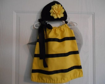 Bumble Bee Costume with flower hairclip wings and headband or hat infant thru 4 years