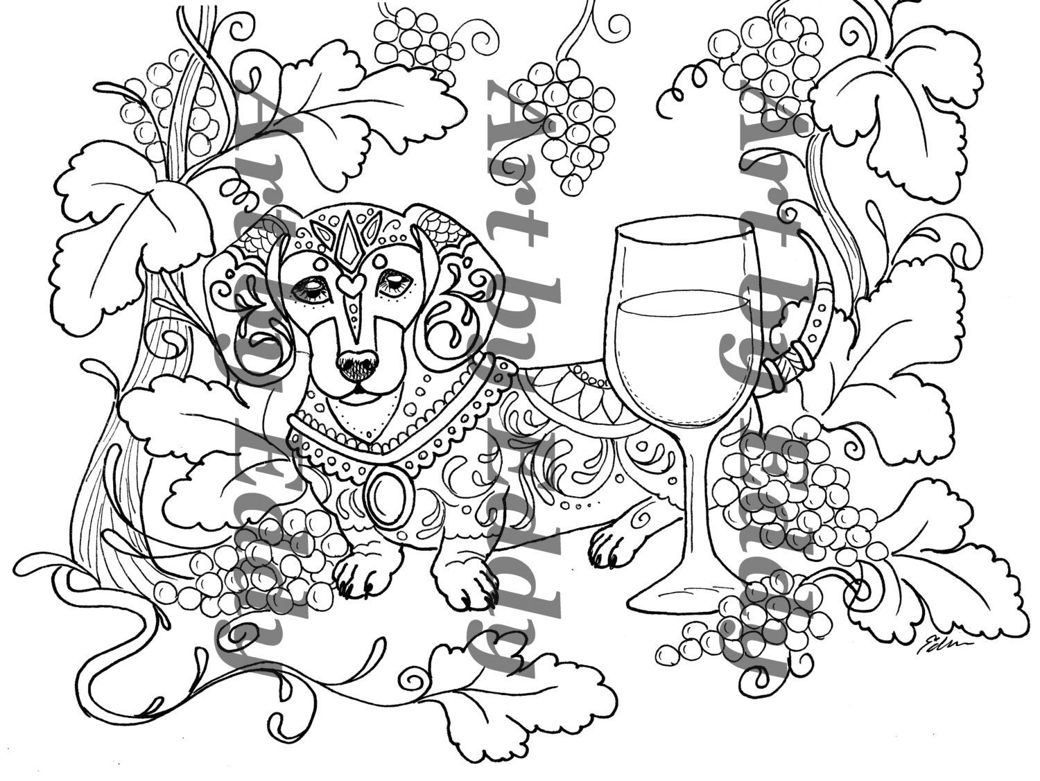 daschunds coloring pages   Art of Dachshund Single Coloring Page Weenies & Wine