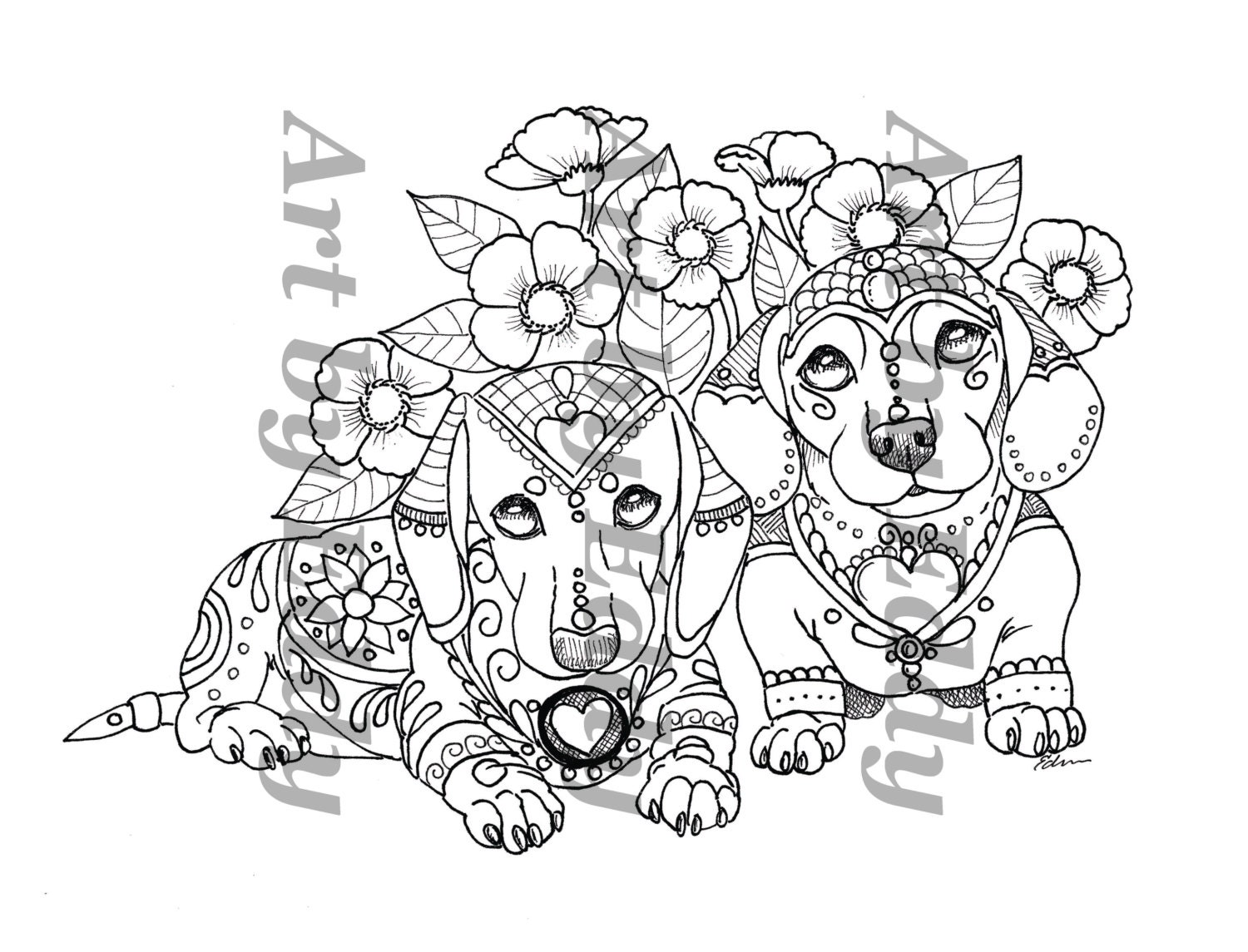 art of dachshund single coloring page siblings