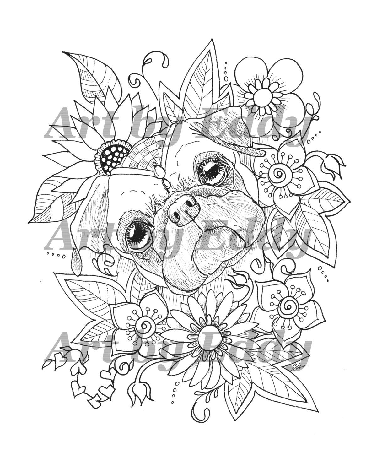 art of pug single coloring page sunflower pug