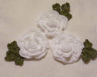 3 roses flowers white appliques scrapbooking sewn on home decor handmade embellishments