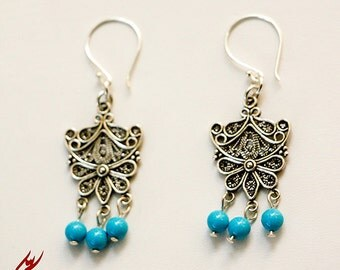 Sterling Silver Filigree Dangle Earrings with Turquoise Swarovski Crystal Pearls, Turquoise Jewelry, designbybehin, Modern Style Earrings