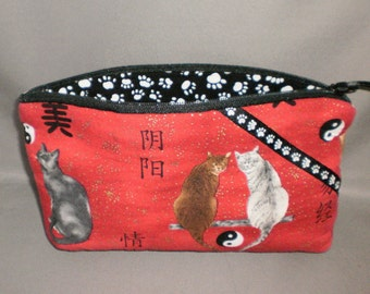 Cosmetic Bag - Makeup Bag - Large Zipper Pouch - Cats - Yin Yang