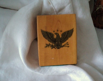 Vintage Patriotic Eagle Wood Pencil Holder 1960s