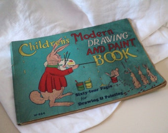 1920s Children's Modern Drawing and Paint Book. Antique Coloring Book.