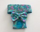Dog Diaper - Female Dog Panty / Panties / Britches / Nappy - Teal and Bright Pink Small Floral - Available in all Sizes