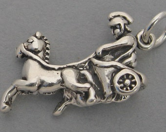 HORSE CHARIOT Roman Greek 3D .925 Sterling Silver Charm 4063