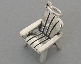 Sterling Silver 925 Charm Pendant 3D ADIRONDACK Deck Lawn Beach CHAIR 2586