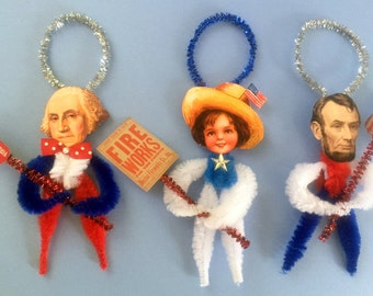 Vintage Patriotic Chenille Art Ornaments Set of 3 ~ Ready to Ship ~