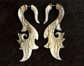 NEW Fake Gauges, Handmade, Earrings, Organic, Split, Tribal Style - Sarafina Curls Tamarind Wood