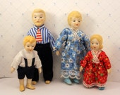 Dollhouse Doll Family Porcelain 4 Piece Painted Faces Hair and Shoes 1970s