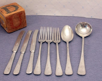 Toy Silverware Doll Flatware made Germany Aluminium Partial Set