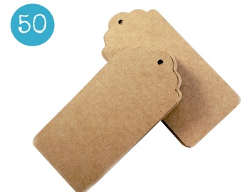 Scalloped kraft gift tags - 50 KRAFT BROWN cardstock parcel tags, hang tags - 1 3/4 x 3 3/4 inch - gift wrapping, wedding, packaging