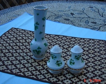 Vintage Lefton Bone China Vase and Healacraft Salt and Pepper Shakers - Beautiful